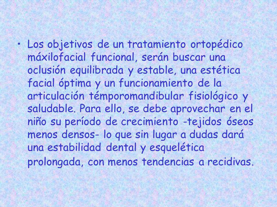 Los objetivos de un tratamiento ortopédico máxilofacial funcional, serán buscar una oclusión equilibrada y estable, una estética facial óptima y un funcionamiento de la articulación témporomandibular fisiológico y saludable.