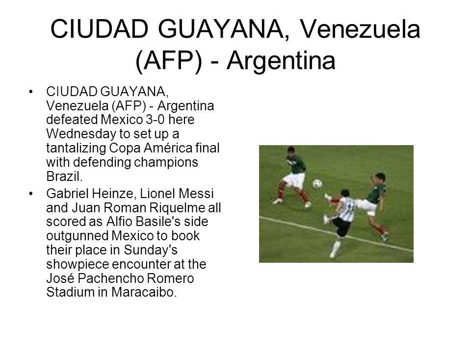 CIUDAD GUAYANA, Venezuela (AFP) - Argentina