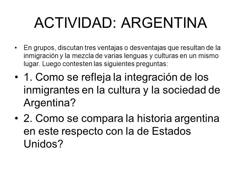 ACTIVIDAD: ARGENTINA