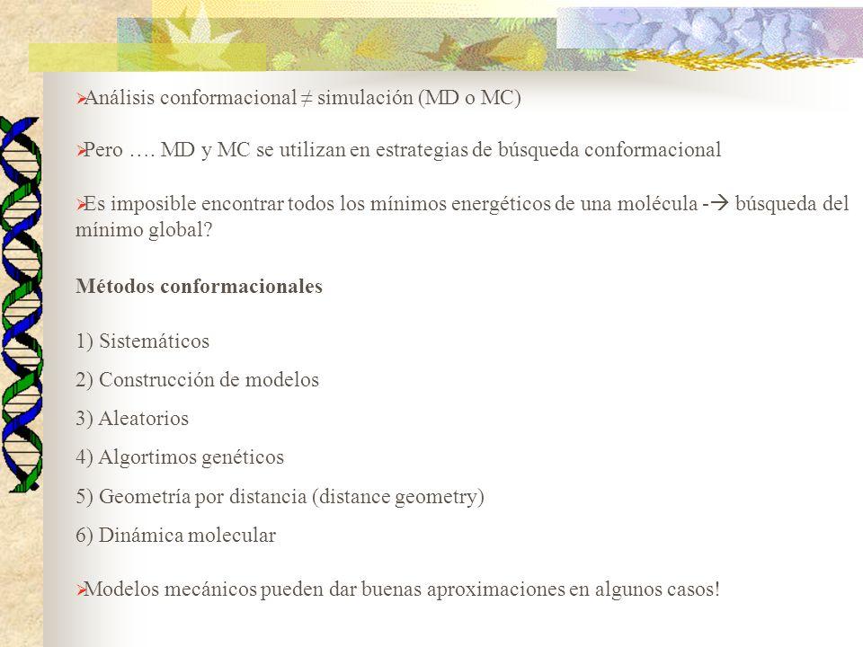 Análisis conformacional ≠ simulación (MD o MC)