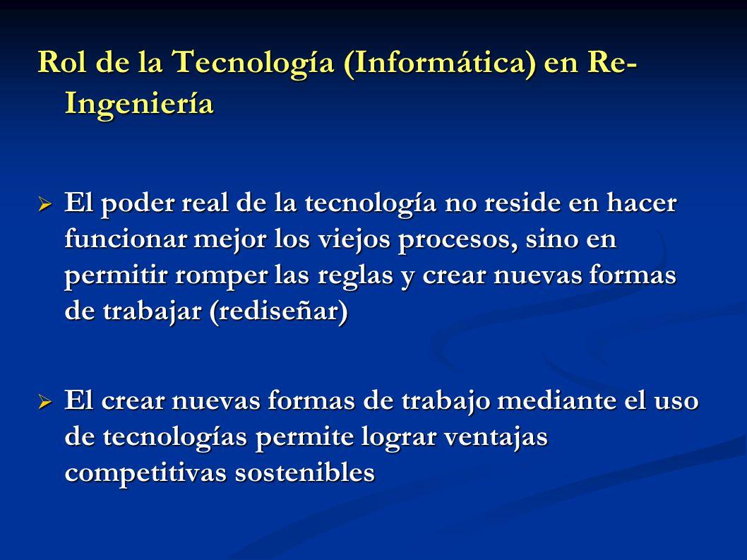 Rol de la Tecnología (Informática) en Re- Ingeniería