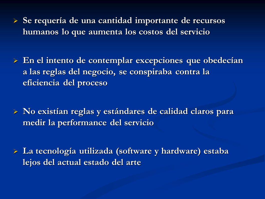 Se requería de una cantidad importante de recursos humanos lo que aumenta los costos del servicio