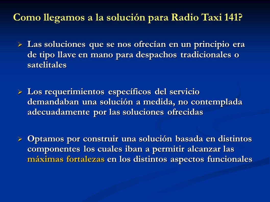 Como llegamos a la solución para Radio Taxi 141