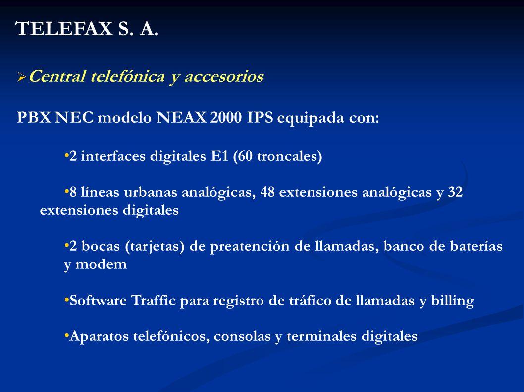 TELEFAX S. A. Central telefónica y accesorios
