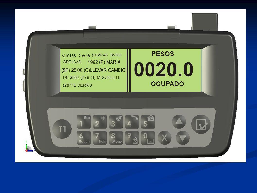 0020.0 * PESOS OCUPADO 10138 (H)20:45 (2)PTE BERRO