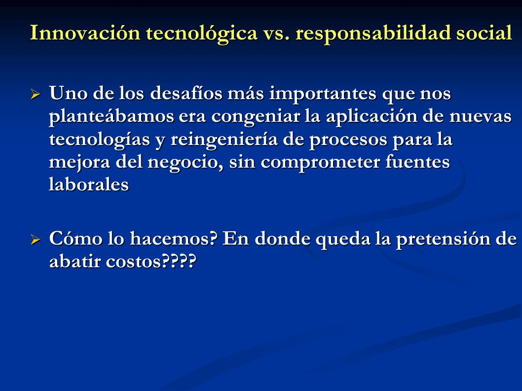 Innovación tecnológica vs. responsabilidad social