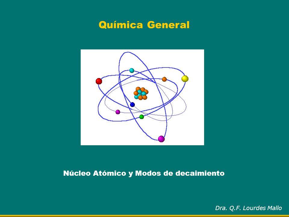 Química General Núcleo Atómico y Modos de decaimiento