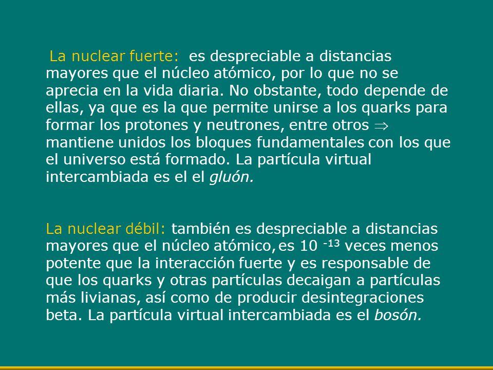 La nuclear fuerte: es despreciable a distancias mayores que el núcleo atómico, por lo que no se aprecia en la vida diaria. No obstante, todo depende de ellas, ya que es la que permite unirse a los quarks para formar los protones y neutrones, entre otros  mantiene unidos los bloques fundamentales con los que el universo está formado. La partícula virtual intercambiada es el el gluón.