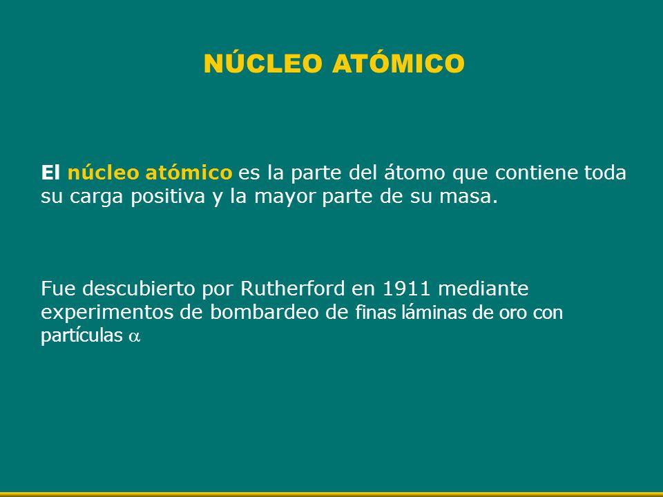 NÚCLEO ATÓMICO El núcleo atómico es la parte del átomo que contiene toda su carga positiva y la mayor parte de su masa.