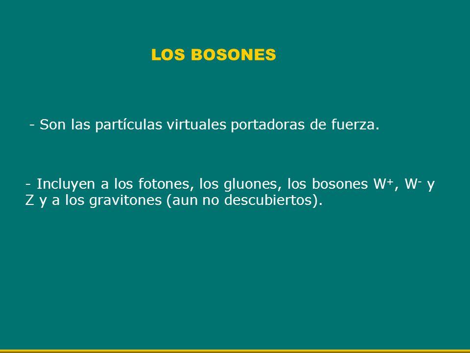 LOS BOSONES - Son las partículas virtuales portadoras de fuerza.