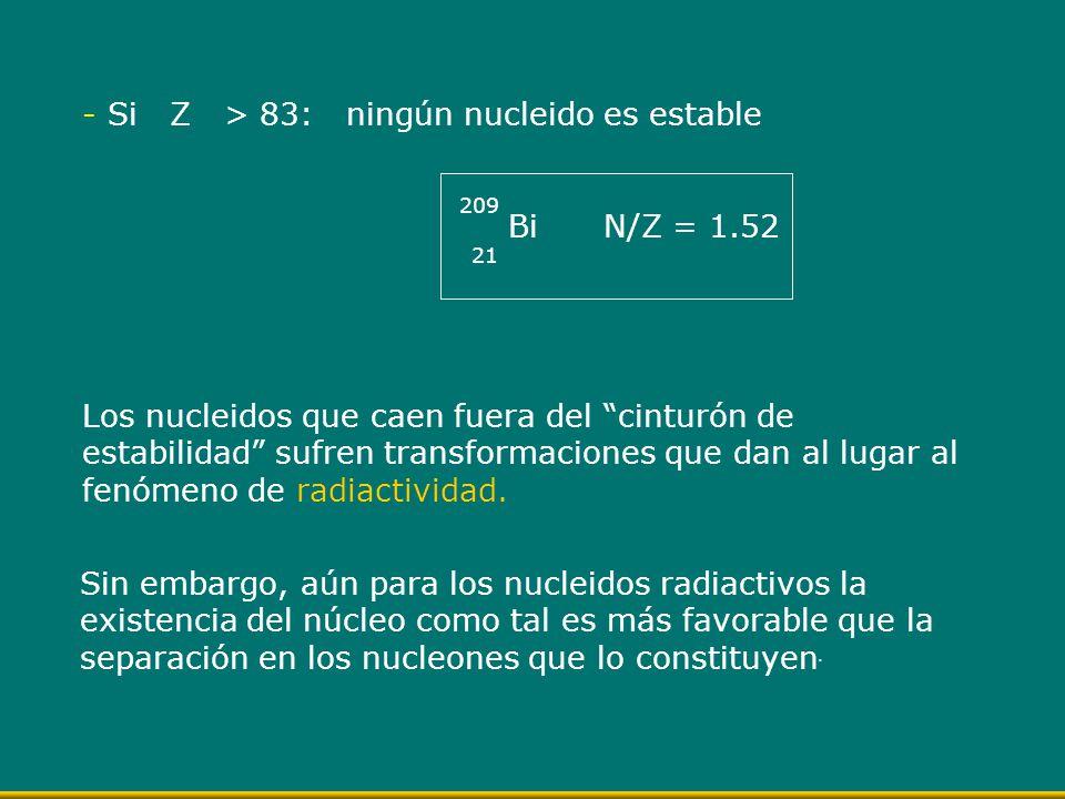 Si Z > 83: ningún nucleido es estable