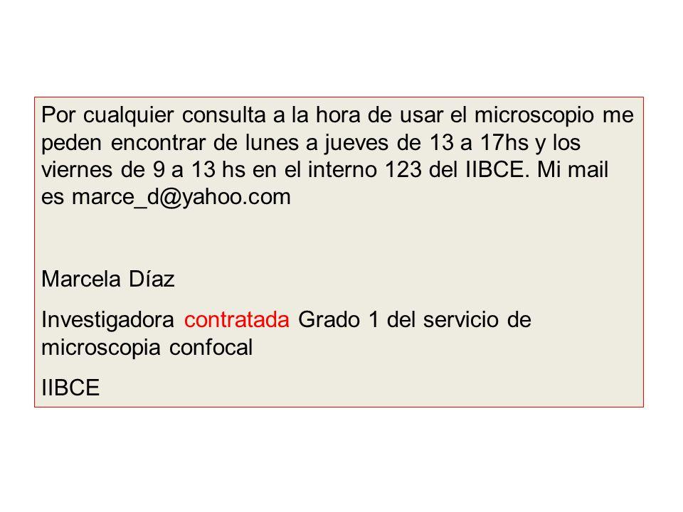 Por cualquier consulta a la hora de usar el microscopio me peden encontrar de lunes a jueves de 13 a 17hs y los viernes de 9 a 13 hs en el interno 123 del IIBCE. Mi mail es marce_d@yahoo.com