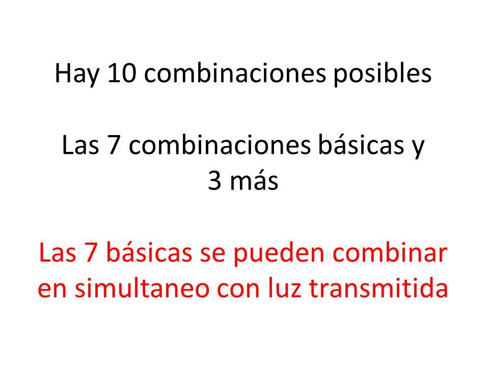 Hay 10 combinaciones posibles Las 7 combinaciones básicas y 3 más Las 7 básicas se pueden combinar en simultaneo con luz transmitida