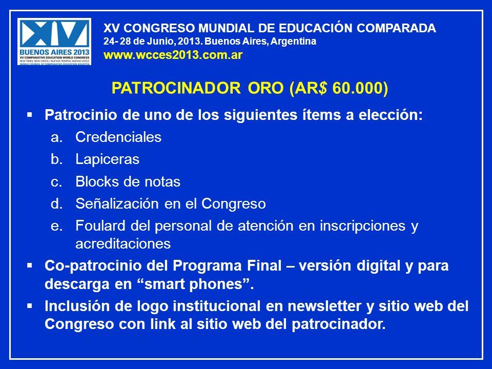 PATROCINADOR ORO (AR$ 60.000)