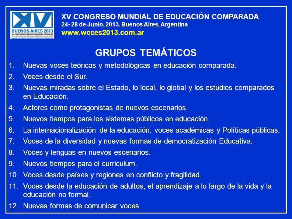 GRUPOS TEMÁTICOS XV CONGRESO MUNDIAL DE EDUCACIÓN COMPARADA