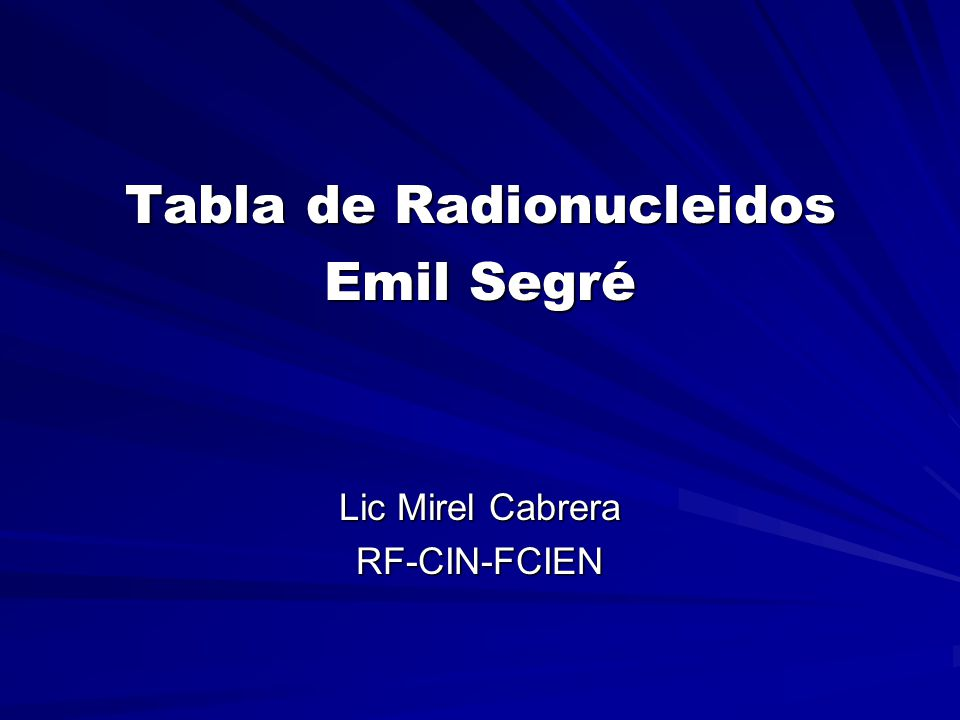 Tabla de Radionucleidos