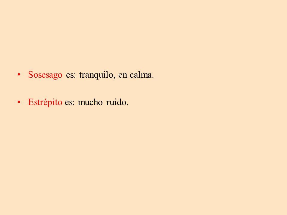 Sosesago es: tranquilo, en calma.