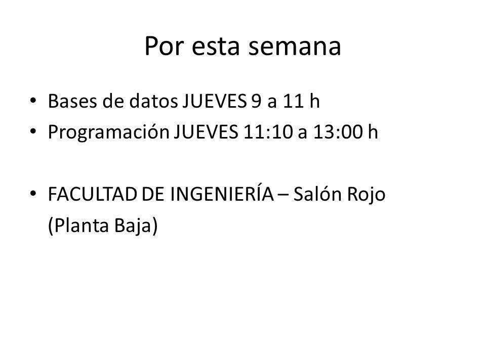Por esta semana Bases de datos JUEVES 9 a 11 h