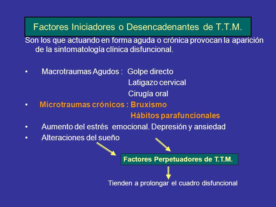 Factores Iniciadores o Desencadenantes de T.T.M.