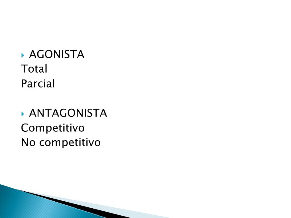 AGONISTA Total Parcial ANTAGONISTA Competitivo No competitivo