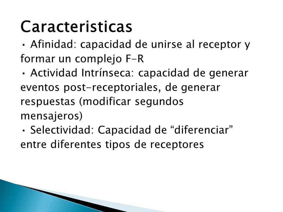 Caracteristicas • Afinidad: capacidad de unirse al receptor y