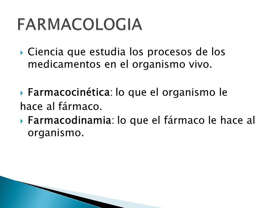 FARMACOLOGIA Ciencia que estudia los procesos de los medicamentos en el organismo vivo. Farmacocinética: lo que el organismo le.