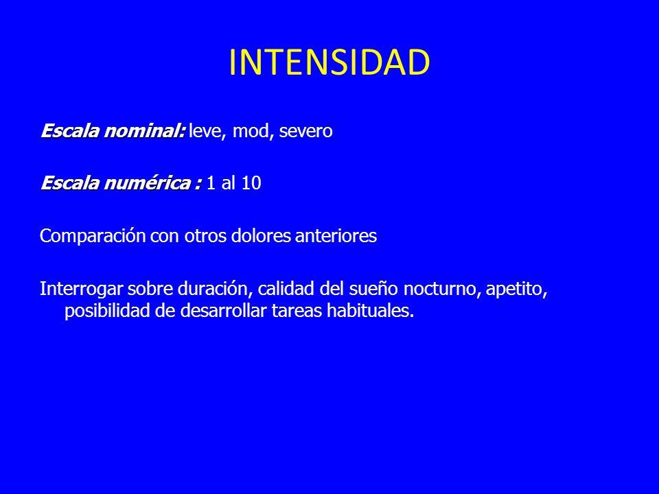 INTENSIDAD Escala nominal: leve, mod, severo Escala numérica : 1 al 10