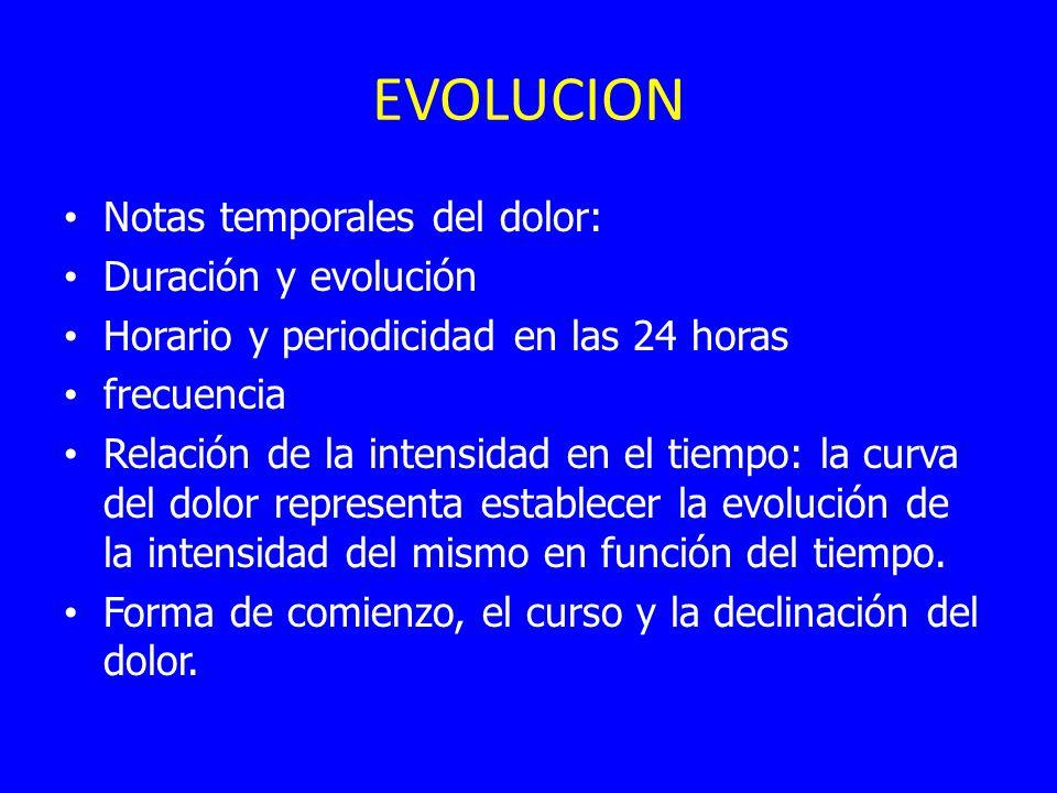 EVOLUCION Notas temporales del dolor: Duración y evolución
