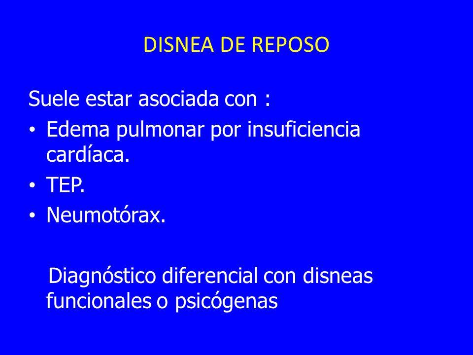 DISNEA DE REPOSO Suele estar asociada con :