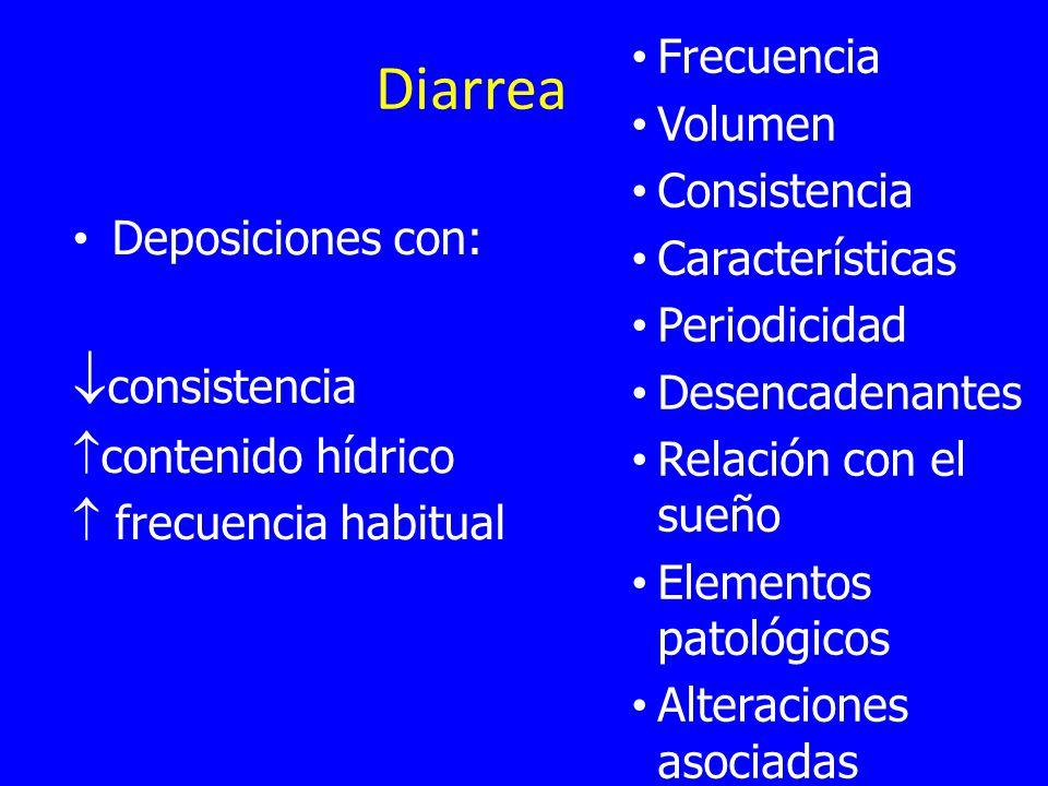 Diarrea consistencia Frecuencia Volumen Consistencia Características