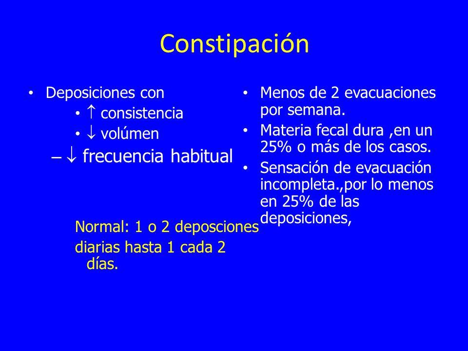 Constipación  frecuencia habitual Deposiciones con  consistencia