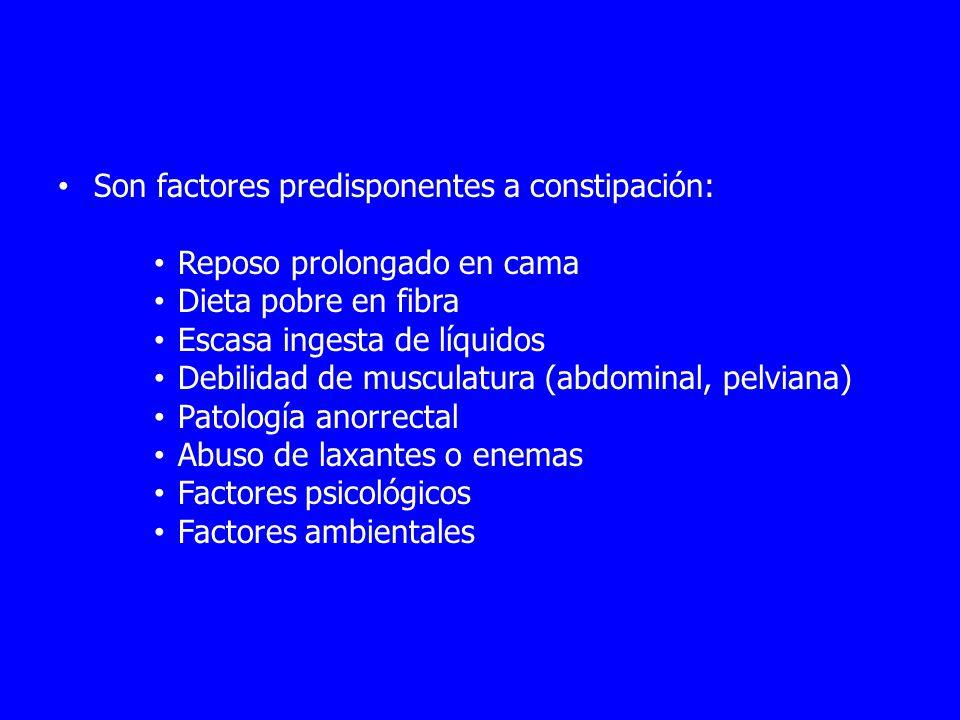 Son factores predisponentes a constipación: