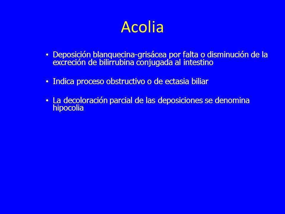 Acolia Deposición blanquecina-grisácea por falta o disminución de la excreción de bilirrubina conjugada al intestino.
