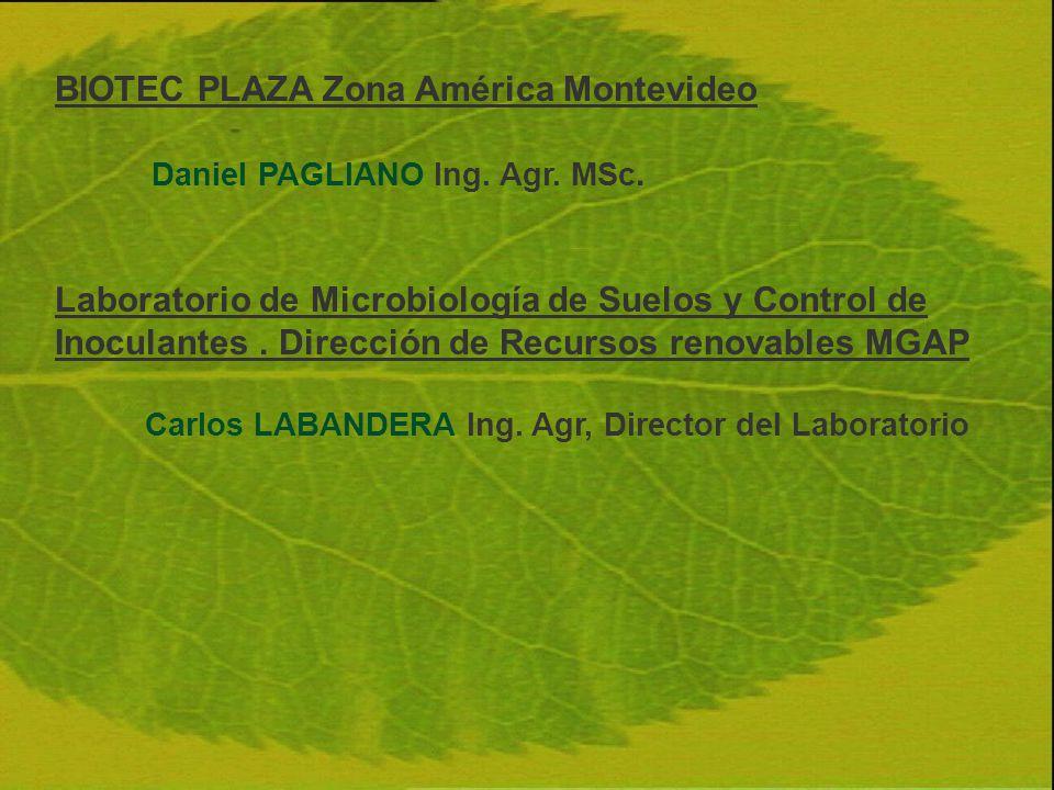 BIOTEC PLAZA Zona América Montevideo Daniel PAGLIANO Ing. Agr. MSc.