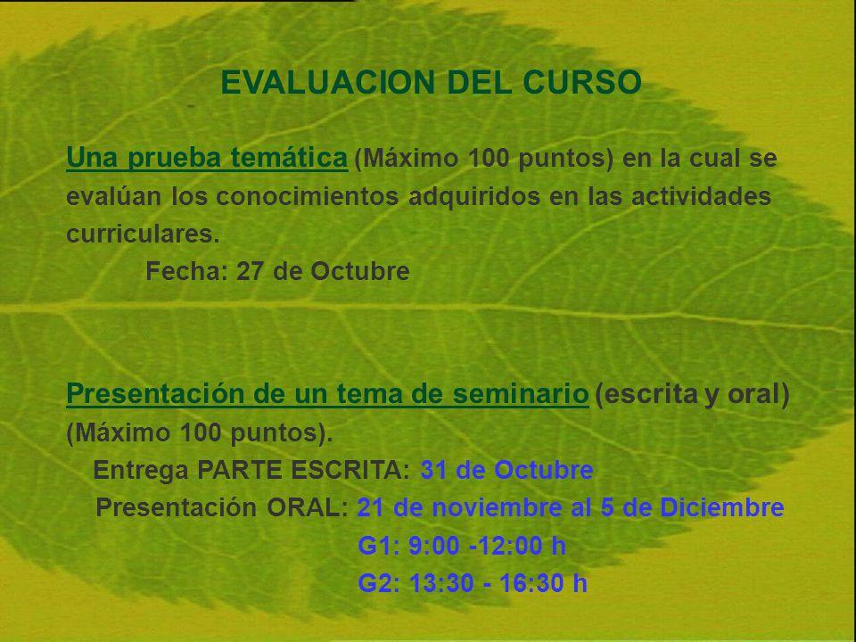 EVALUACION DEL CURSO Una prueba temática (Máximo 100 puntos) en la cual se evalúan los conocimientos adquiridos en las actividades curriculares.