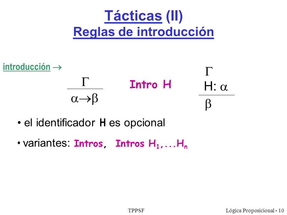 Tácticas (II) Reglas de introducción