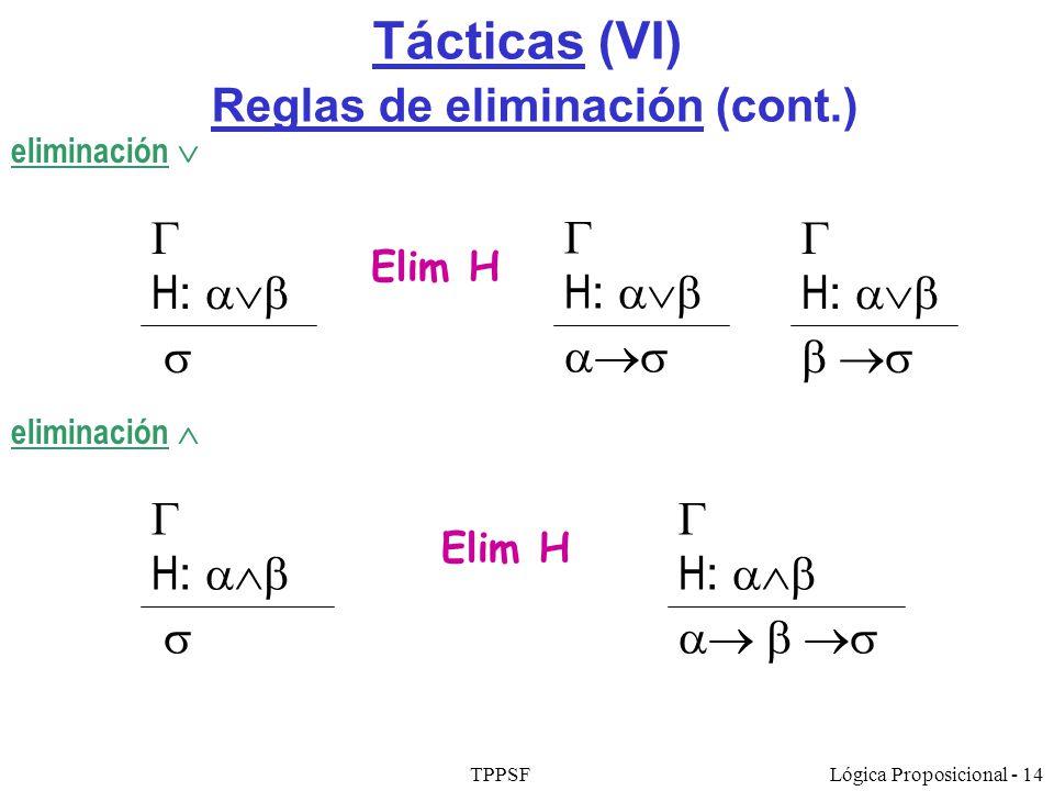 Tácticas (VI) Reglas de eliminación (cont.)