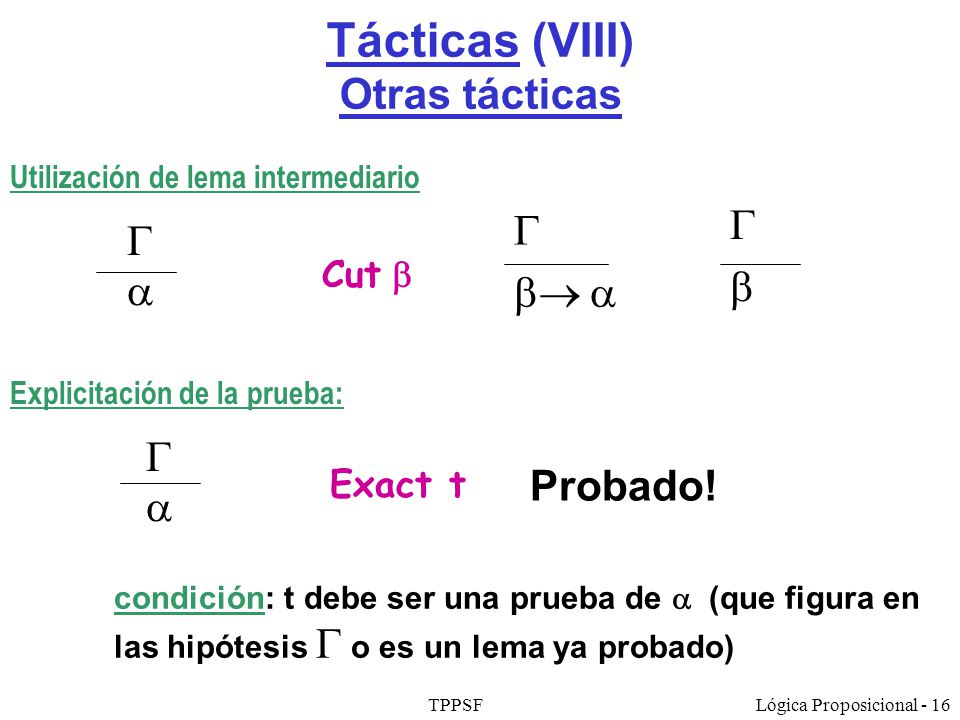 Tácticas (VIII) Otras tácticas