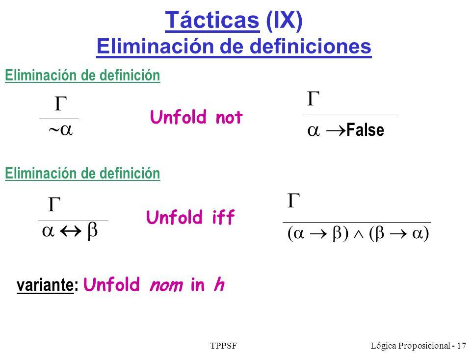 Tácticas (IX) Eliminación de definiciones