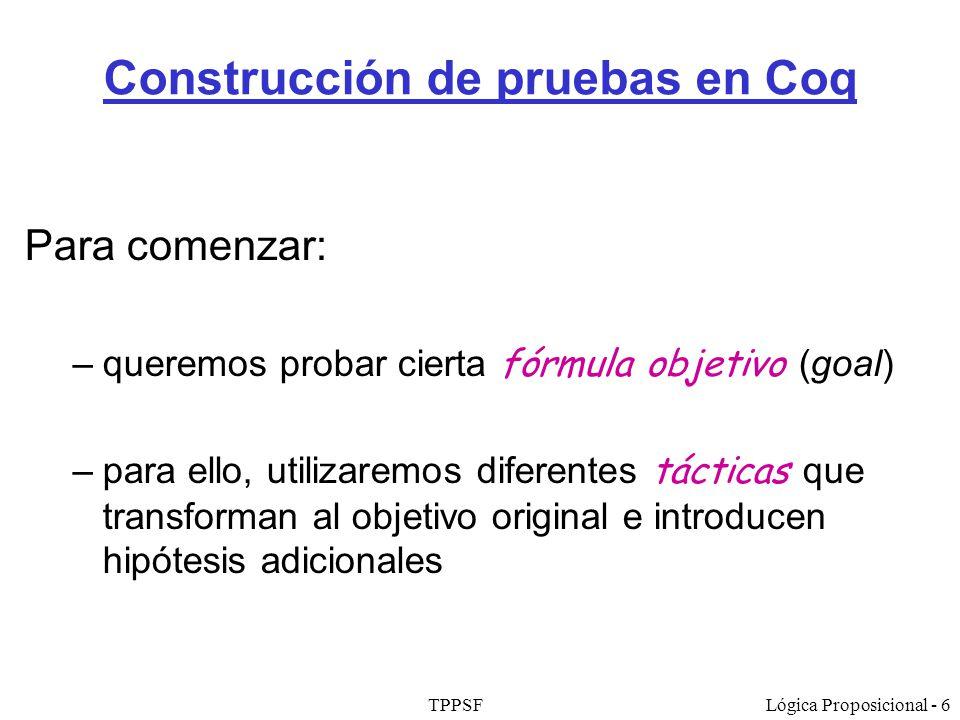 Construcción de pruebas en Coq