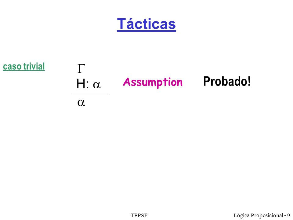 Tácticas caso trivial  H:  a Assumption Probado! TPPSF