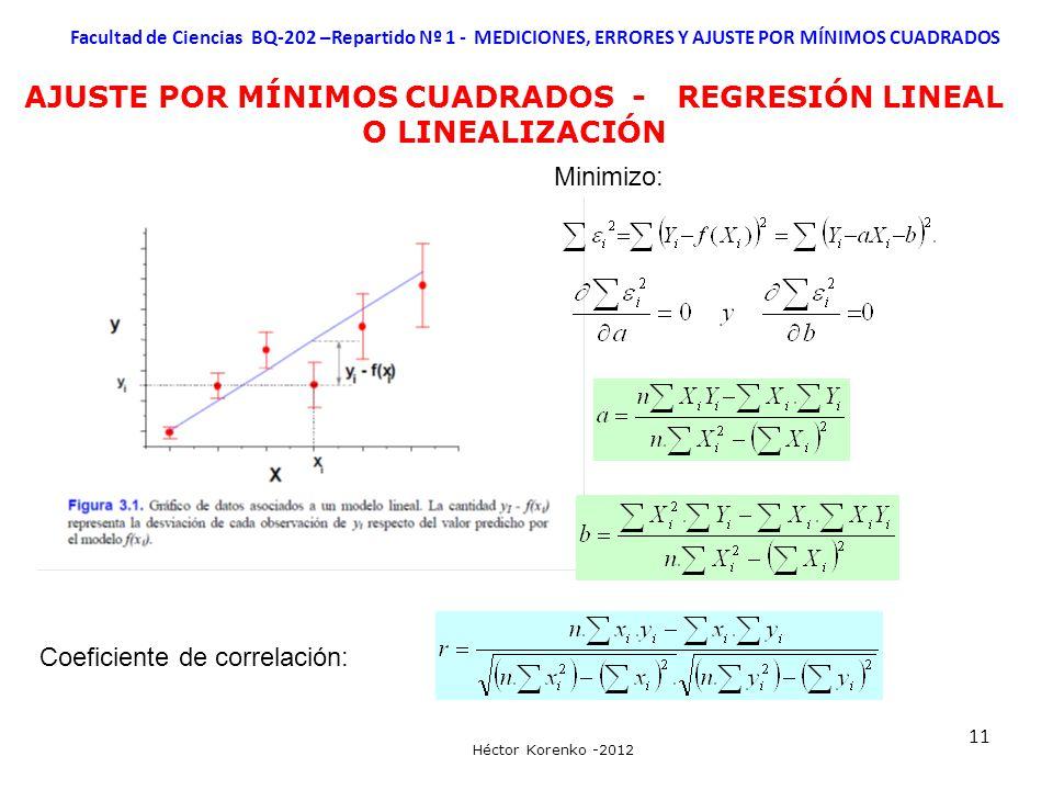 AJUSTE POR MÍNIMOS CUADRADOS - REGRESIÓN LINEAL O LINEALIZACIÓN