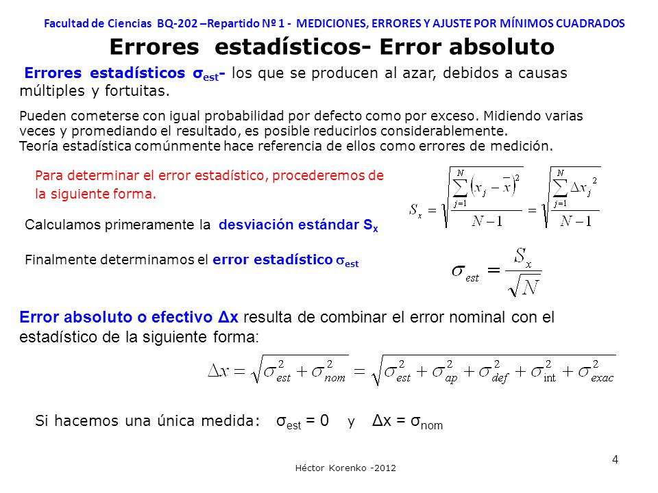 Errores estadísticos- Error absoluto