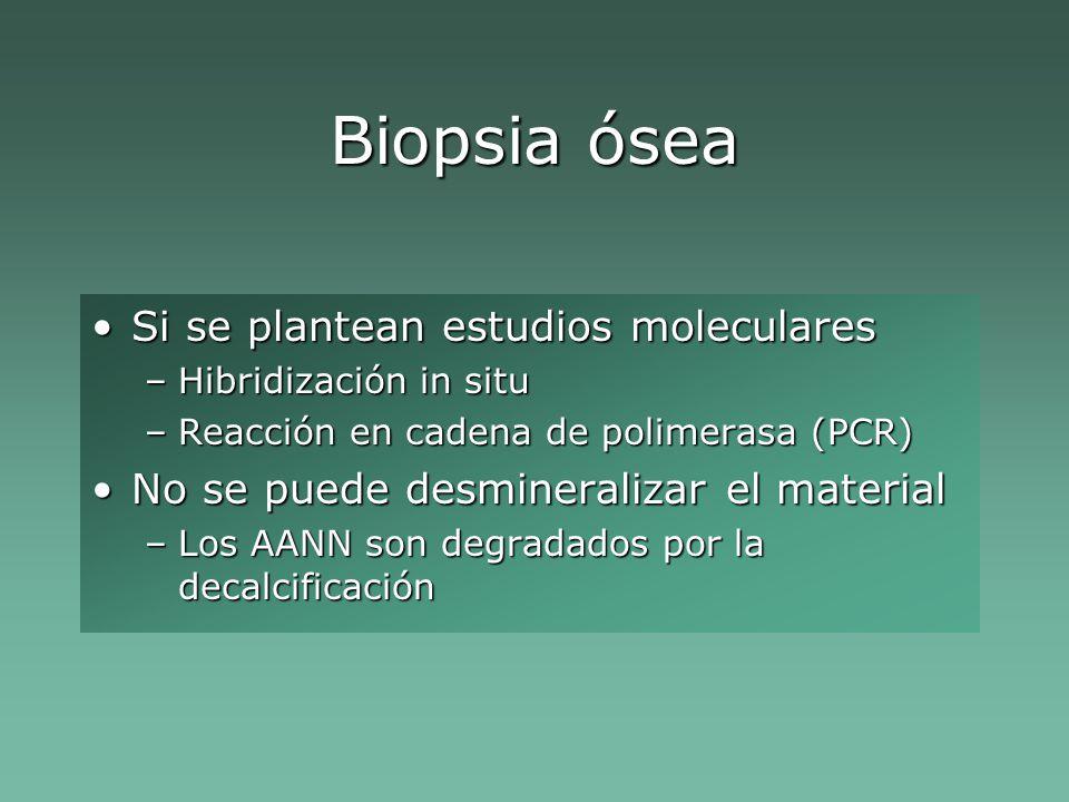 Biopsia ósea Si se plantean estudios moleculares