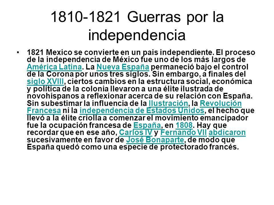 1810-1821 Guerras por la independencia