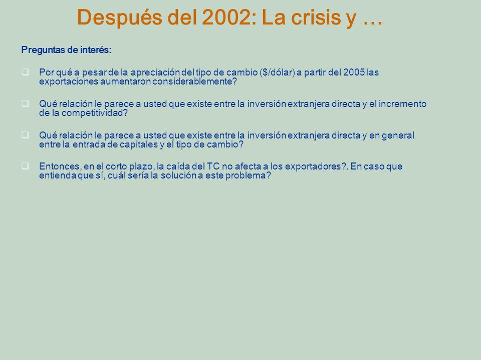 Después del 2002: La crisis y …