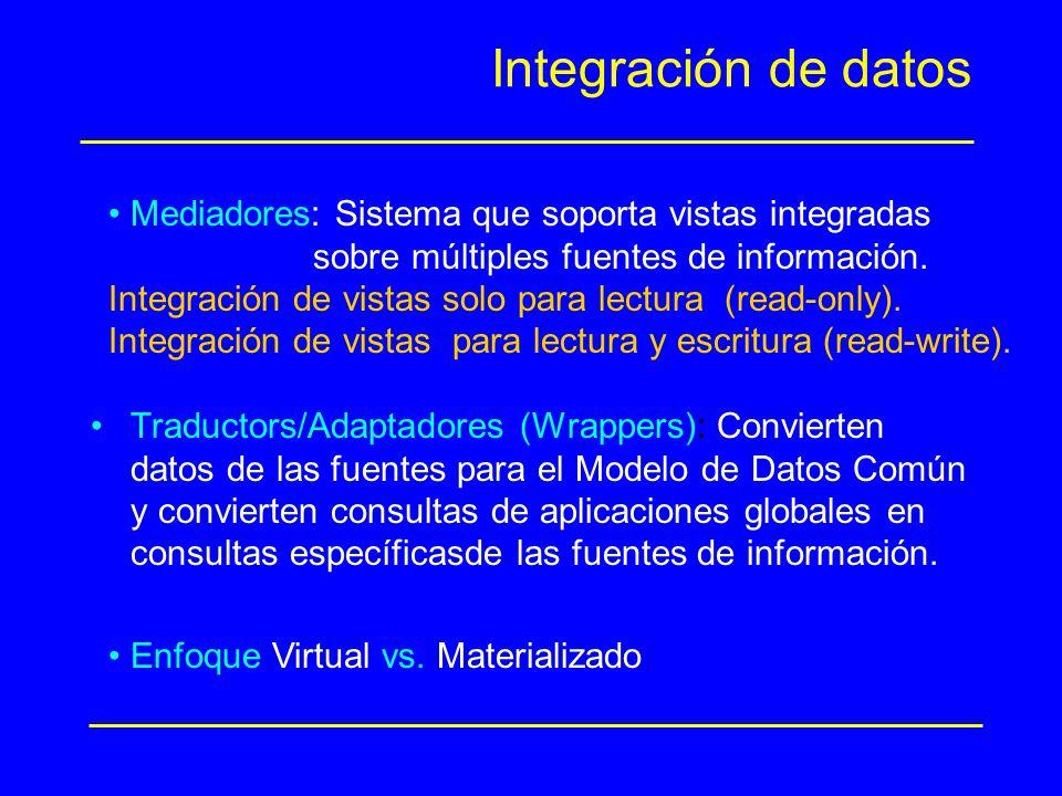 Integración de datos Mediadores: Sistema que soporta vistas integradas
