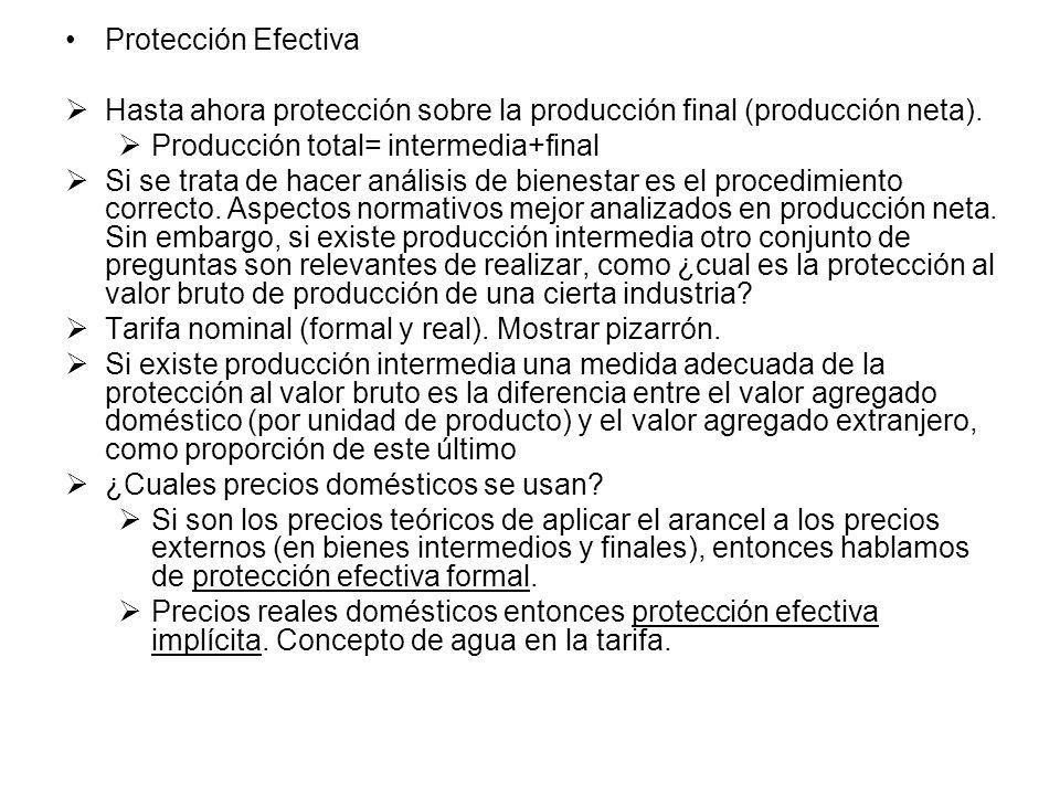 Protección Efectiva Hasta ahora protección sobre la producción final (producción neta). Producción total= intermedia+final.