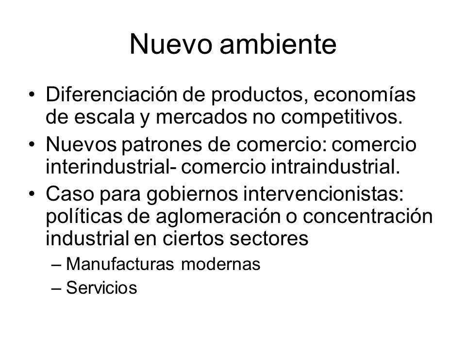 Nuevo ambiente Diferenciación de productos, economías de escala y mercados no competitivos.