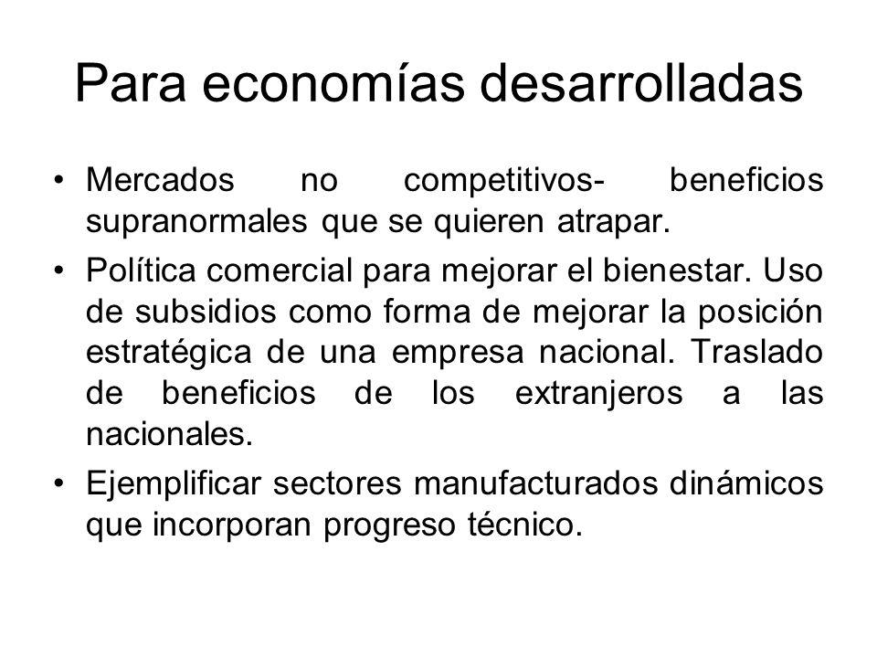 Para economías desarrolladas